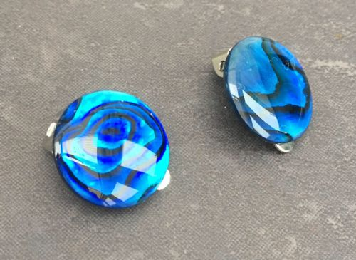 Paua Clip On Stud Earrings - Large Circle (6)  Blue PE07-LCB